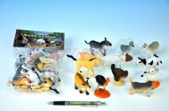Zvířátka Farma plast 5-9cm asst 12 druhů 12ks v sáčku