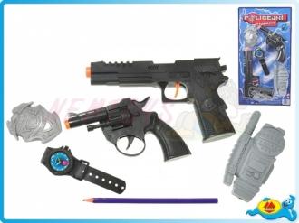 Policejní sada - pistole 23cm s doplňky na kartě