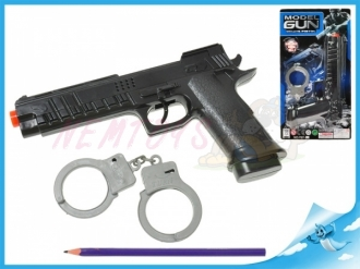 Policejní sada-Pistole 22cm na setrvačník jiskřící + pouta na kartě