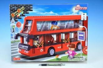 Stavebnice BanBao Autobus dvoupatrový 412ks + 3 figurky v krabici 40x30x7cm