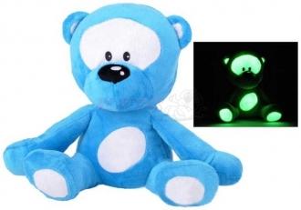 Medvídek Plyš 30 cm svítící ve tmě modrý