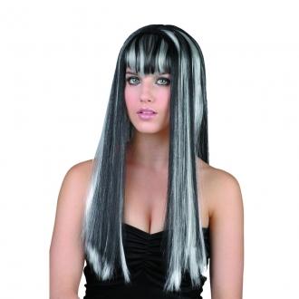 Karnevalová paruka černobílá-dlouhé vlasy