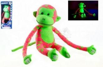 Opice svítící ve tmě - růžová/zelená