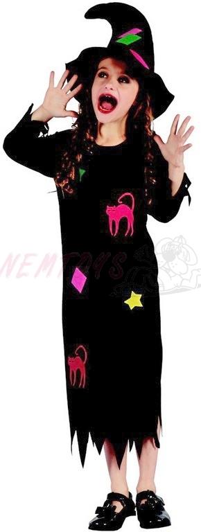 Dětský karnevalový kostým  Čarodějka vel.M (120-130 cm) 5-9 let