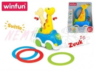 Auto žirafa 23cm narážecí s kroužky na baterie se světlem a zvukem 18m+