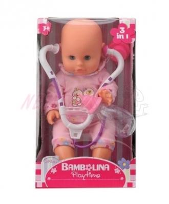 Panenka Bambolina s stetoskopem a kojeneckou lahvičkou 33 cm