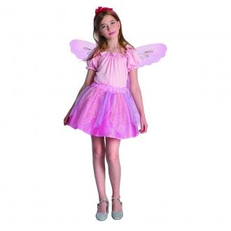 Dětský karnevalový kostým - Růžová víla 110-120cm