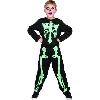 Dětský karnevalový kostým -Kostra svítící ve tmě, 130 - 140 cm