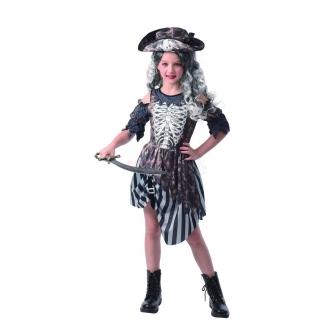 Dětský karnevalový kostým - zombie pirátka, 120 - 130 cm