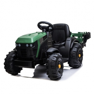Dětské elektrický traktor s přívěsem, 12V, dva motory, MP3