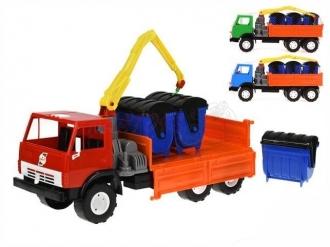 Auto nákladní s ramenem X3 48cm volný chod s kontejnery 3ks - 3barvy v síťce