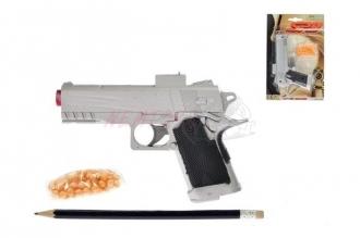 Pistole na kuličky 18cm s kuličkami na kartě