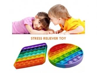 Pop it - Fidgetová antistresová hra - rainbow - duha- kruh/jednorožec/čtverec