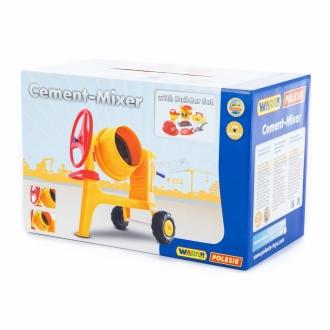 WADER Míchačka dětská plastová maxi žlutá na kolečkách + zednické nářadí