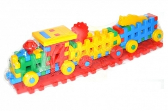 Stavebnice plastová - vláček s vagonky