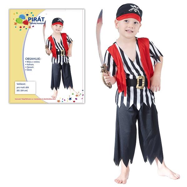 Karnevalový kostým  PIRÁT 92-104 cm