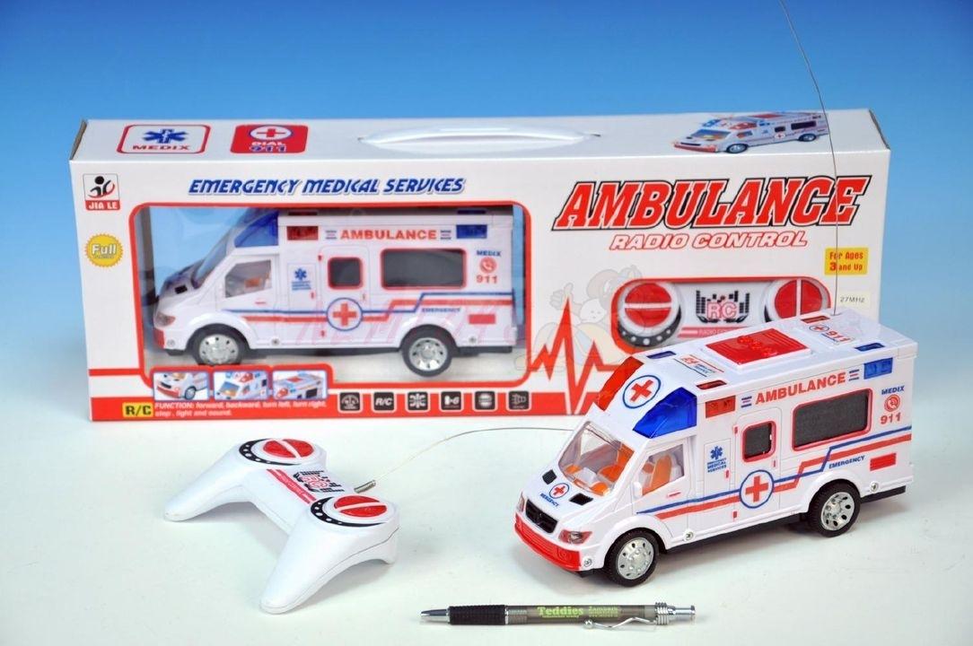 Ambulance RC plast 22cm 27MHz na baterie plná funkce se světlem a zvukem v krabici