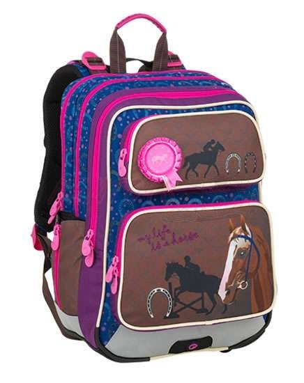 Bagmaster Školní batoh pro prvňáčky GALAXY 9 B BLUE/BROWN/PINK